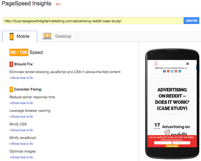 Google Page Speed Insight Test